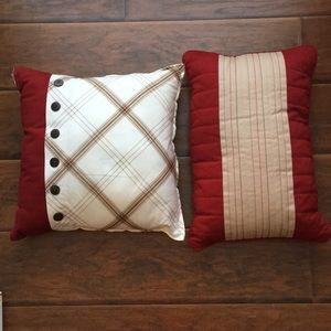 Other - 2 Red and Cream Throw Pullows